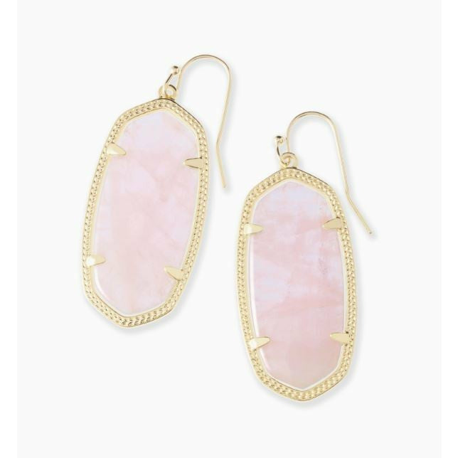 ELLE DROP EARRINGS - GOLD - ROSE QUARTZ