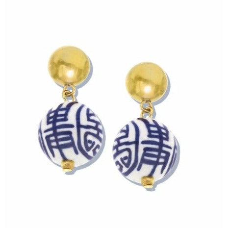 Blue & White Margaret Drop Earrings
