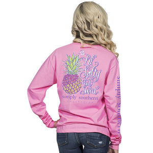 Youth Salty Pineapple (Flamingo) Long Sleeve Simply Southern