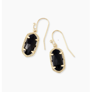LEE DROP EARRINGS - GOLD - BLACK