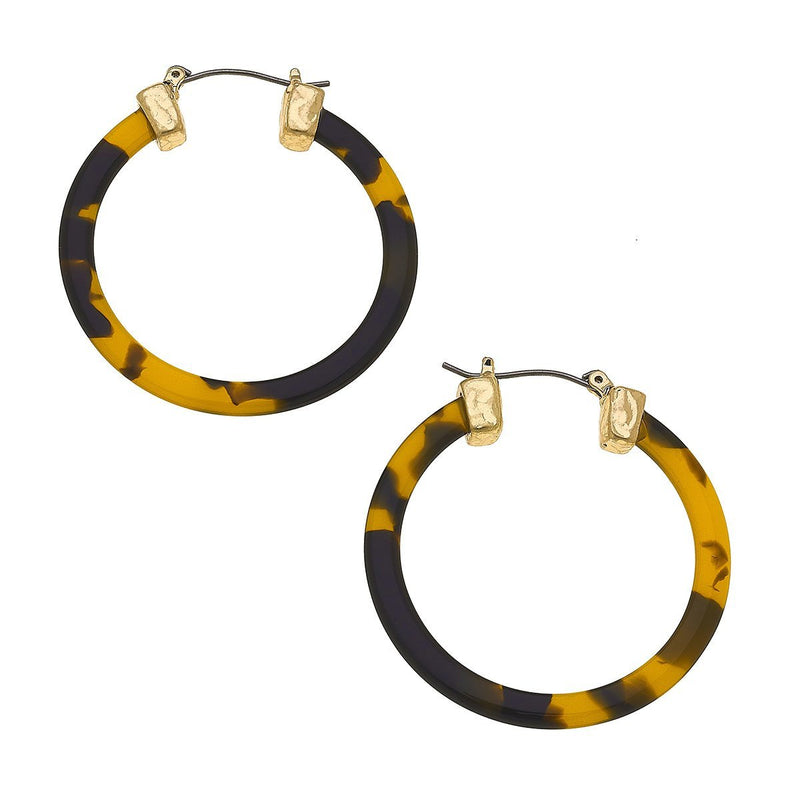 Lyra Hoop Earrings In Tortoise Resin