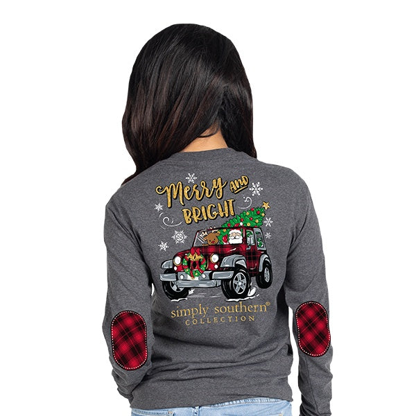 YOUTH Merry (DkHthrGry) Long Sleeve Simply Southern Tee