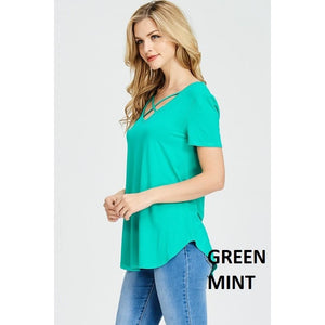 Ella Criss Cross V-Neck Short Sleeve Top