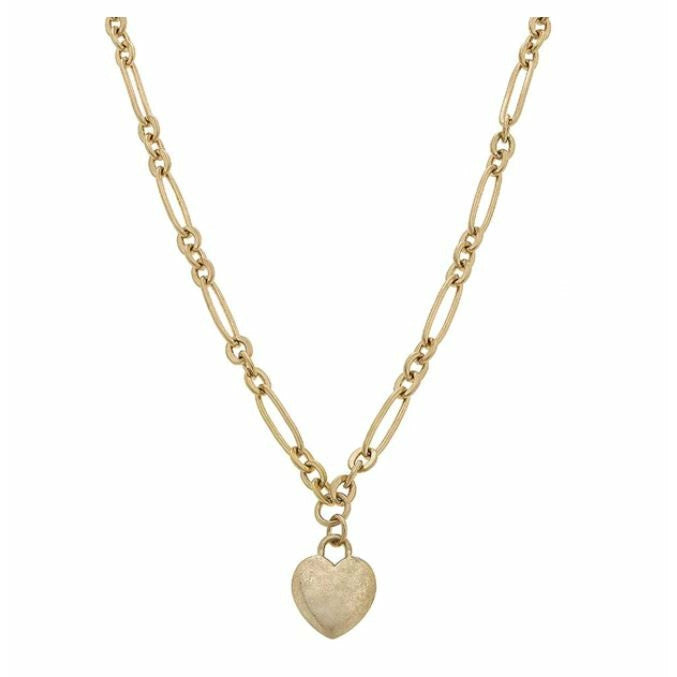 Jules Heart Charm Necklace in Worn Gold