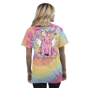 Youth Preppy Hot Mess (Tie Dye) Simply Southern Tee