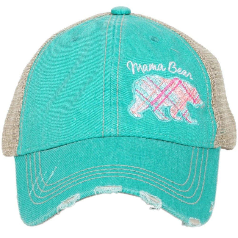Mama Bear Plaid Pastel Trucker Hat - Teal