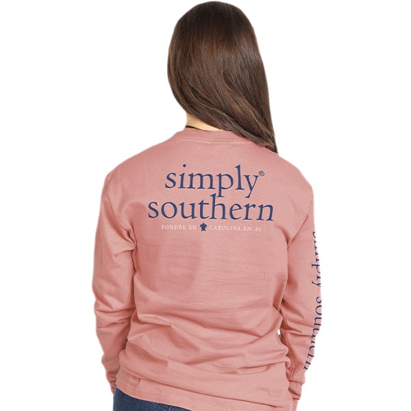 Youth Basic Logo (Rose) Long Sleeve Simply Southern Tee