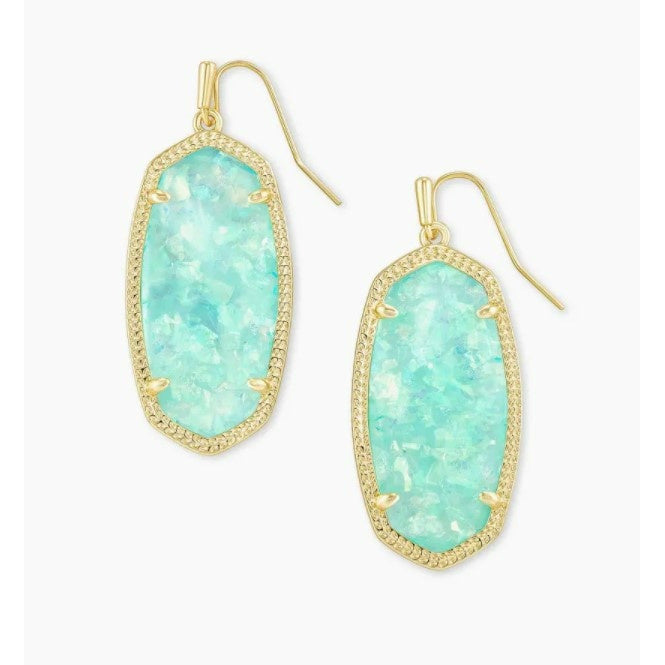 ELLE DROP EARRINGS - GOLD - IRIDESCENT MINT ILLUSION