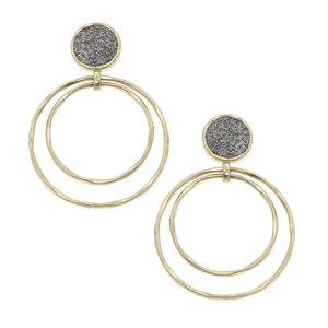 Druzy Double Ring Drop Earring in Hematite