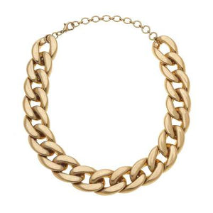"Cerise Curb Link Chain Necklace, Gold, 14"" adjustable"