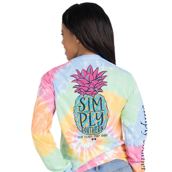 Youth Pineapple (Tie Dye) Long Sleeve Simply Southern Tee