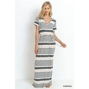 Jossie Striped V-Neck Maxi Dress with Short Sleeves and Tie Waist
