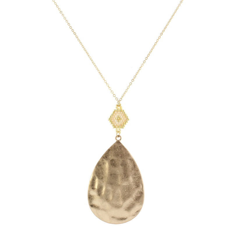 "30"" Gold Chain with Gold, Ivory & Champagne Pendant with Gold Teardrop, 3"" Ext"
