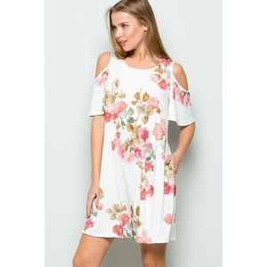 Evie Rose Print Cold Shoulder Swing Dress with Pockets