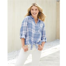 Jax Buttondown Blue Plaid Top