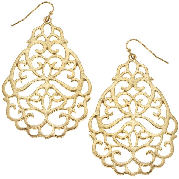 Oval Gold Filigree Earrings