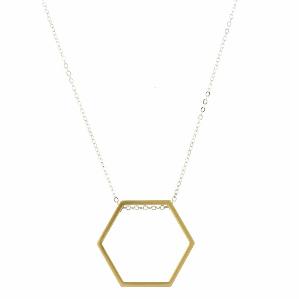 "30"" Silver Chain with Gold Hexagon, 3"" Ext."