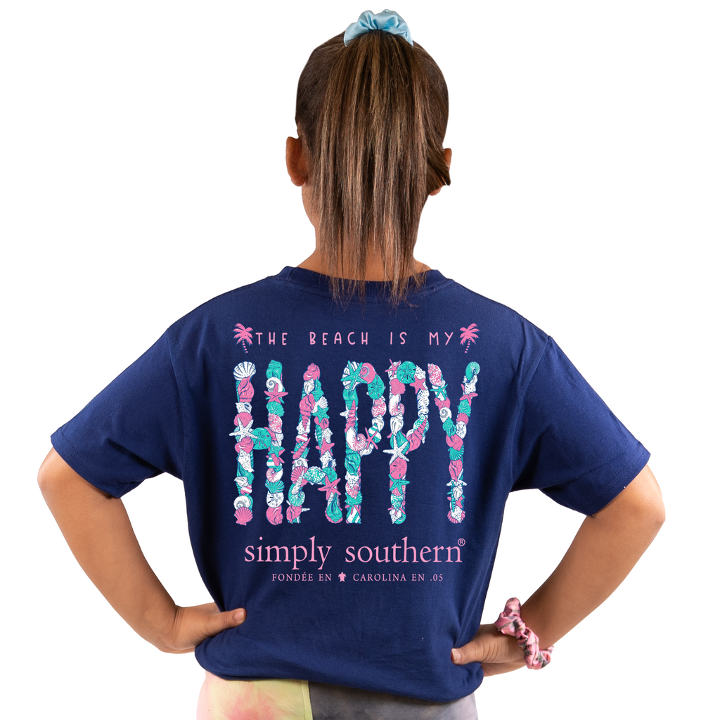 Youth Happy (Navy) Simply Southern Tee