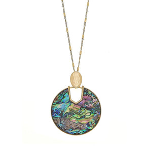 Genoa Pendant Necklace In Abalone Mother Of Pearl Shell