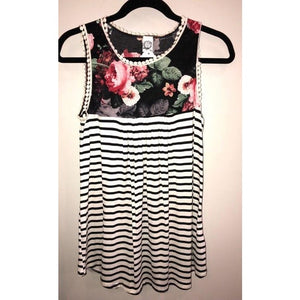 Floral Sleeveless Top with Stripe Combo and Lace Edges
