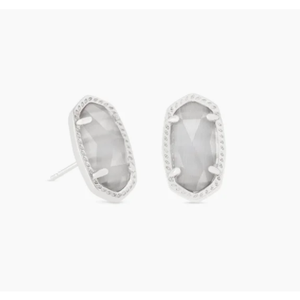 ELLIE STUD EARRINGS - RHODIUM - SLATE CATS EYE