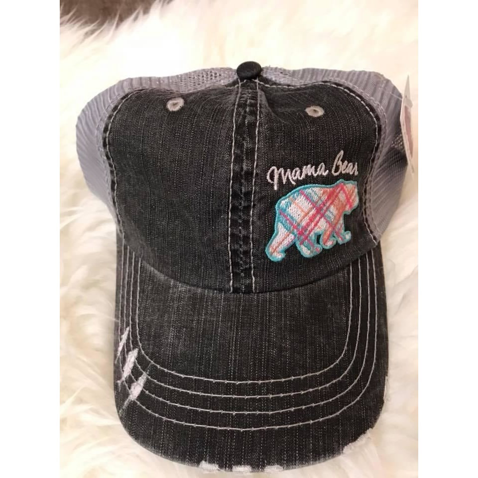 Mama Bear Plaid Pastel Trucker Hat