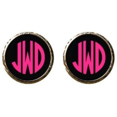 Monogrammed Enamel Earrings