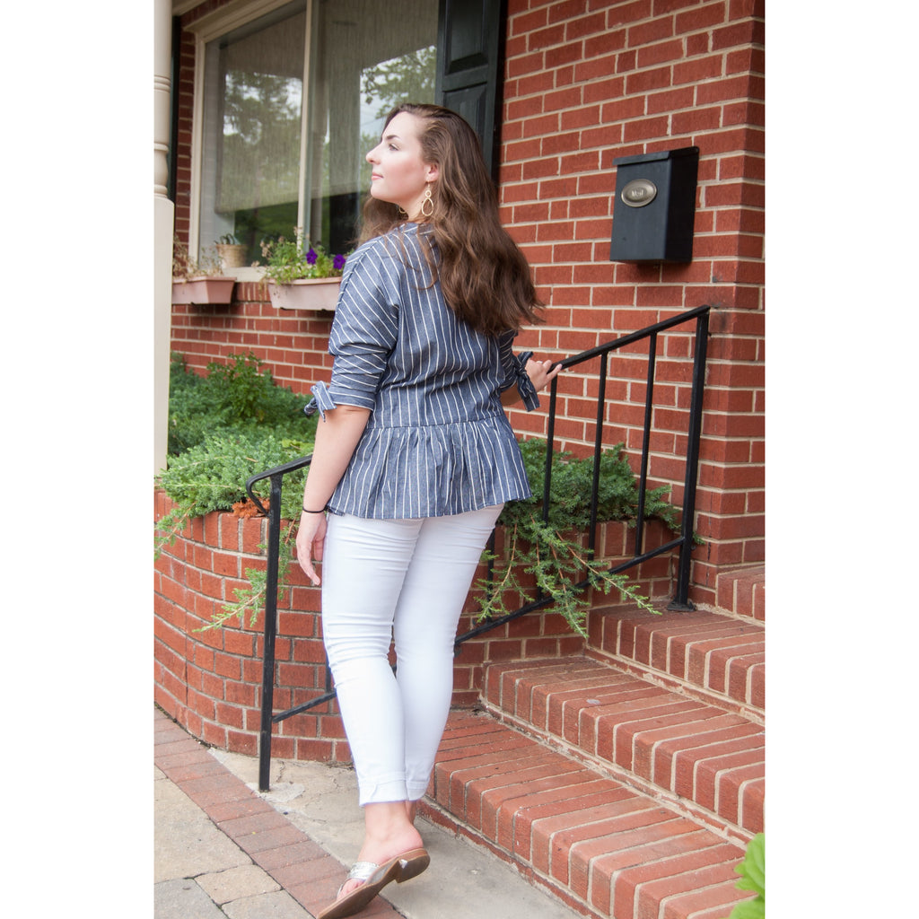 Gwen Striped V-Neck Blouse with Tie Sleeves