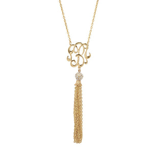 Gold Monogram Tassel Necklace