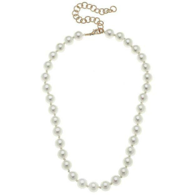 Chloe Hand-Knotted 10mm Pearl Necklace in Ivory