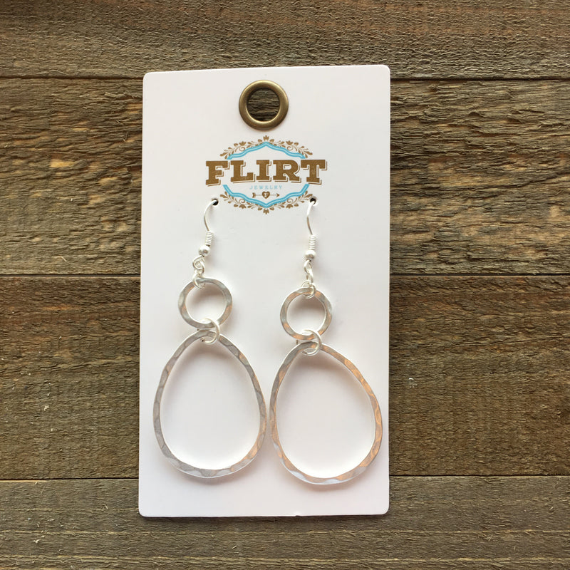 Silver Double Circle/Teardrop Earrings