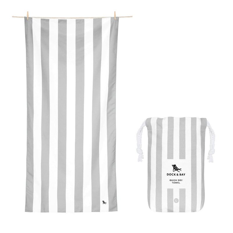 Quick Dry Towel - Striped - Extra Large - Goa Grey