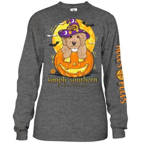 Youth Hocus Pocus (Dark Heather Gray) Long Sleeve Simply Southern Tee