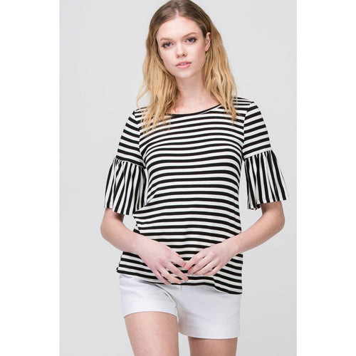 Striped Top with Trumpet Sleeves