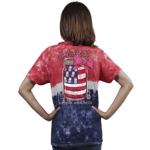Youth Preppy Free America (TieDye) Simply Southern Tee