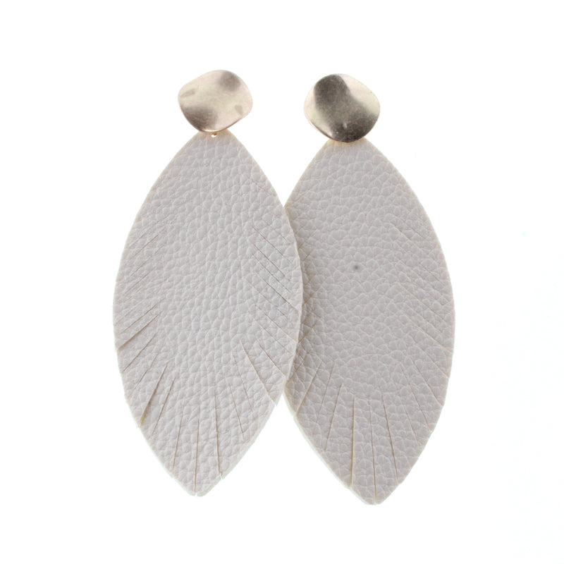 White Leather Feather Earrings w/ Gold Stud