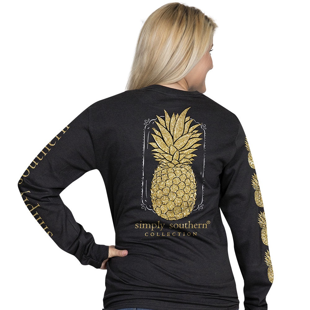 Pineapple (Black) Long Sleeve Simply Southern Tee