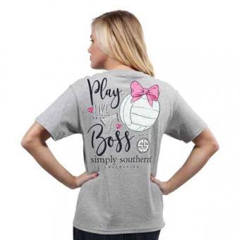 Preppy Volleyball (Heather Grey) Simply Southern Tee