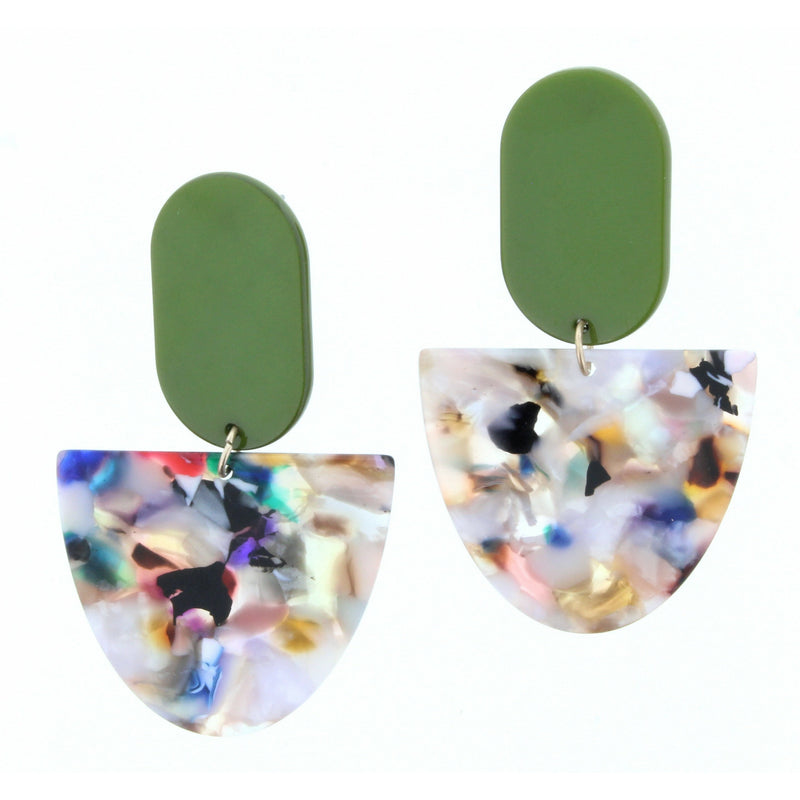 Olive Oval w/ Multi Colored Half Oval Earrings