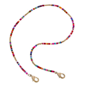Emberly Color Block Mask Necklace - Multi/Worn Gold