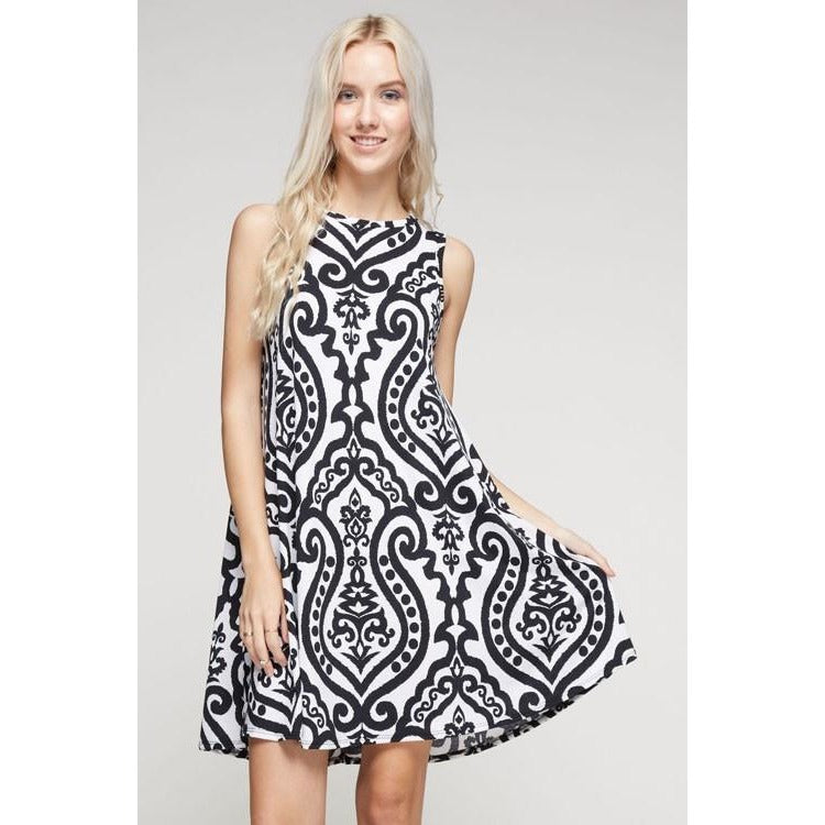 Sofia Damask Sleeveless Dress with Pockets
