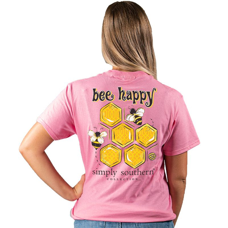 Youth Bee Happy (Flamingo) Simply Southern Tee