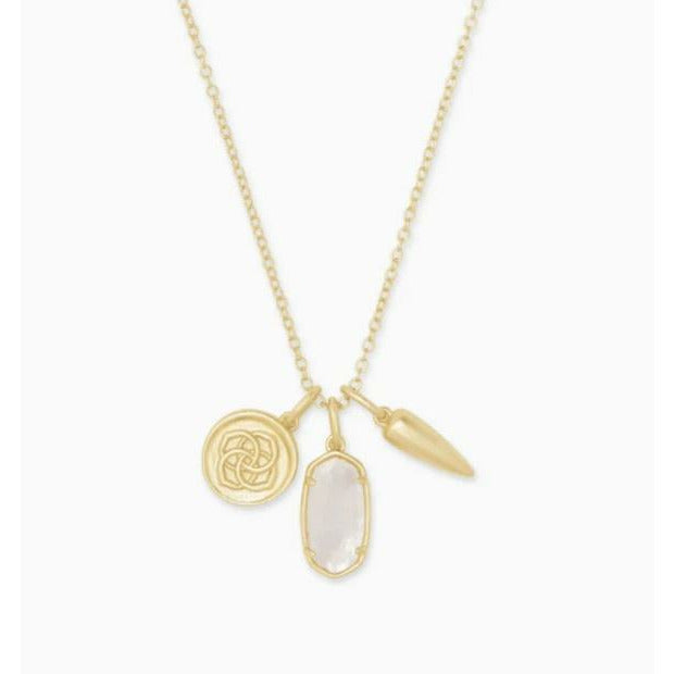 DIRA COIN CHARM NECKLACE - GOLD - IVORY MOTHER OF PEARL