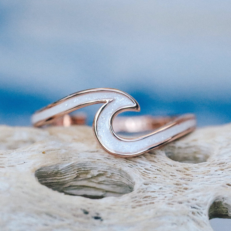 Rose Gold Enamel Wave Ring