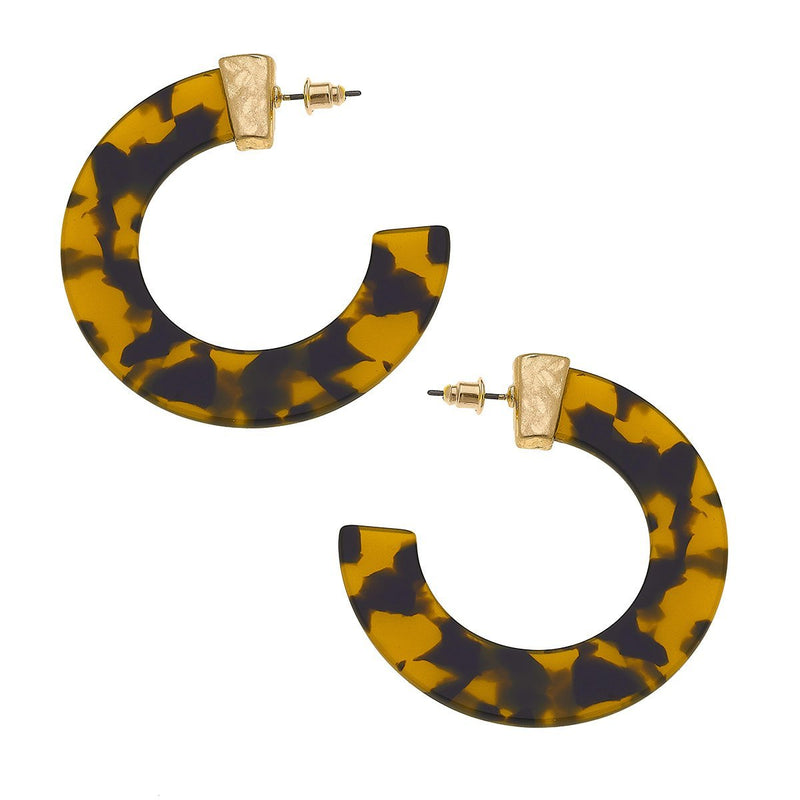 Ari Hoop Earrings in Tortoise Resin