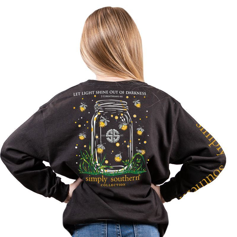 Youth Shineout (Black) Long Sleeve Simply Southern Tee