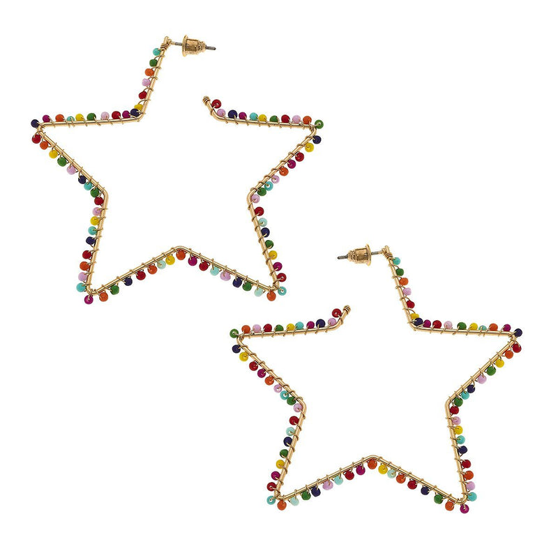Romy Star Earrings In Multi Seed Beads