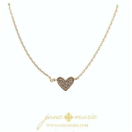 Gold Heart with Rhinestones Gold Chain Necklace