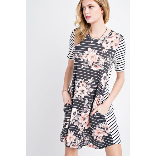 Katie Charcoal Floral & Stripe Dress