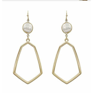 "Matte Gold Geometric and Pearl 2.5"" Drop Earring"